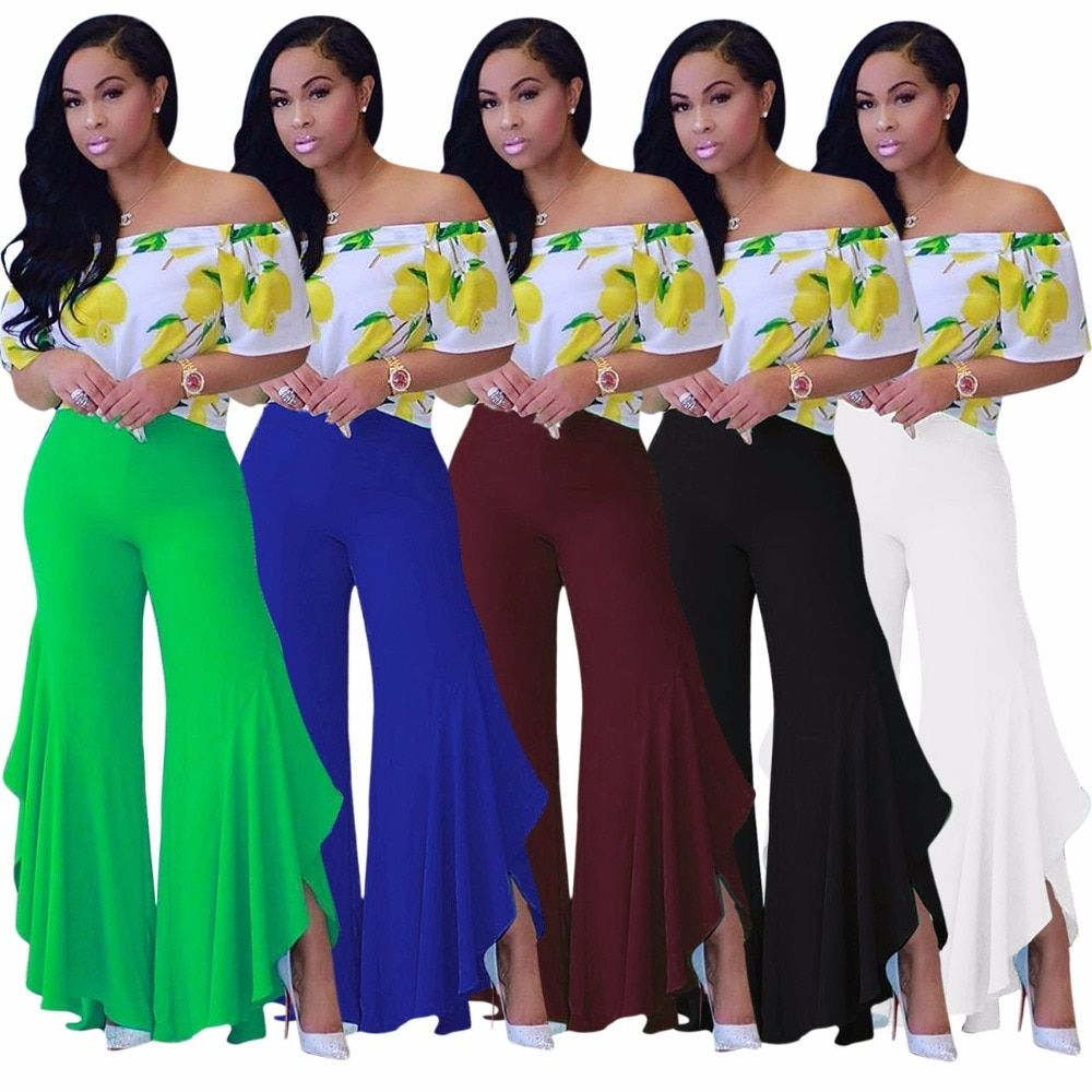 VAZN 2017 New Fashion Design Wide-Leg Long Pants Sexy Summer Solid Pants Sexy Casual Sexy Elegant Skinny Pants M634