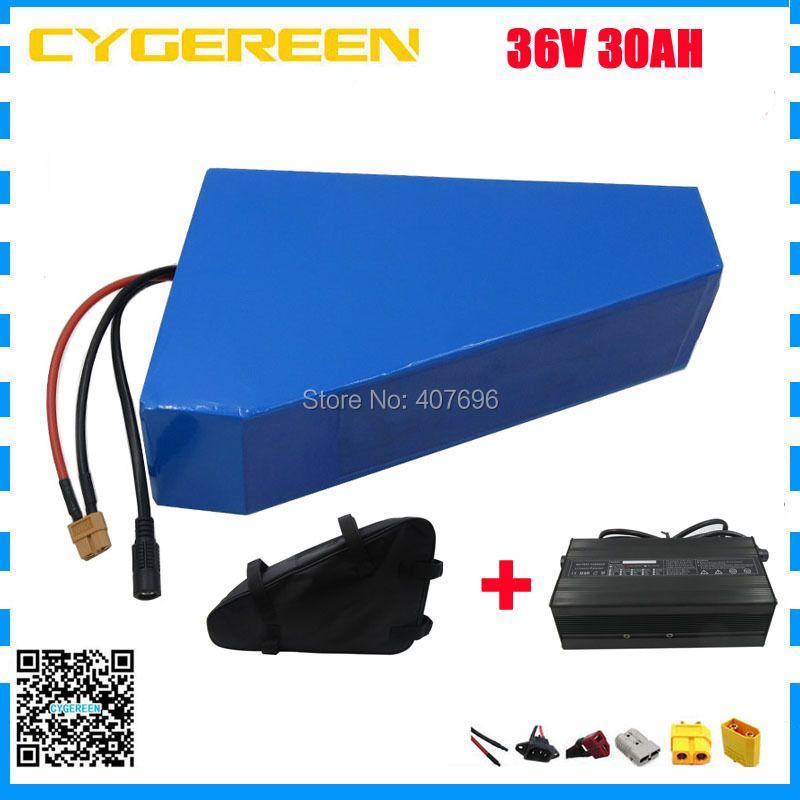 1500 W 36 V dreieck batterie 36 V 30AH elektrische fahrrad batterie mit freies tasche verwenden 29E 2900 mah zelle 50A BMS 3A ladegerät