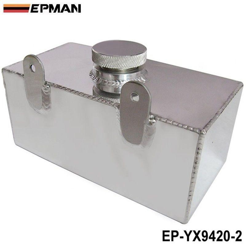 EPMAN 2L Aluminium Universal Polished Windscreen Washer Bottle Intercooler Spray Tank With Cap Kit Track Car EP-YX9420-2