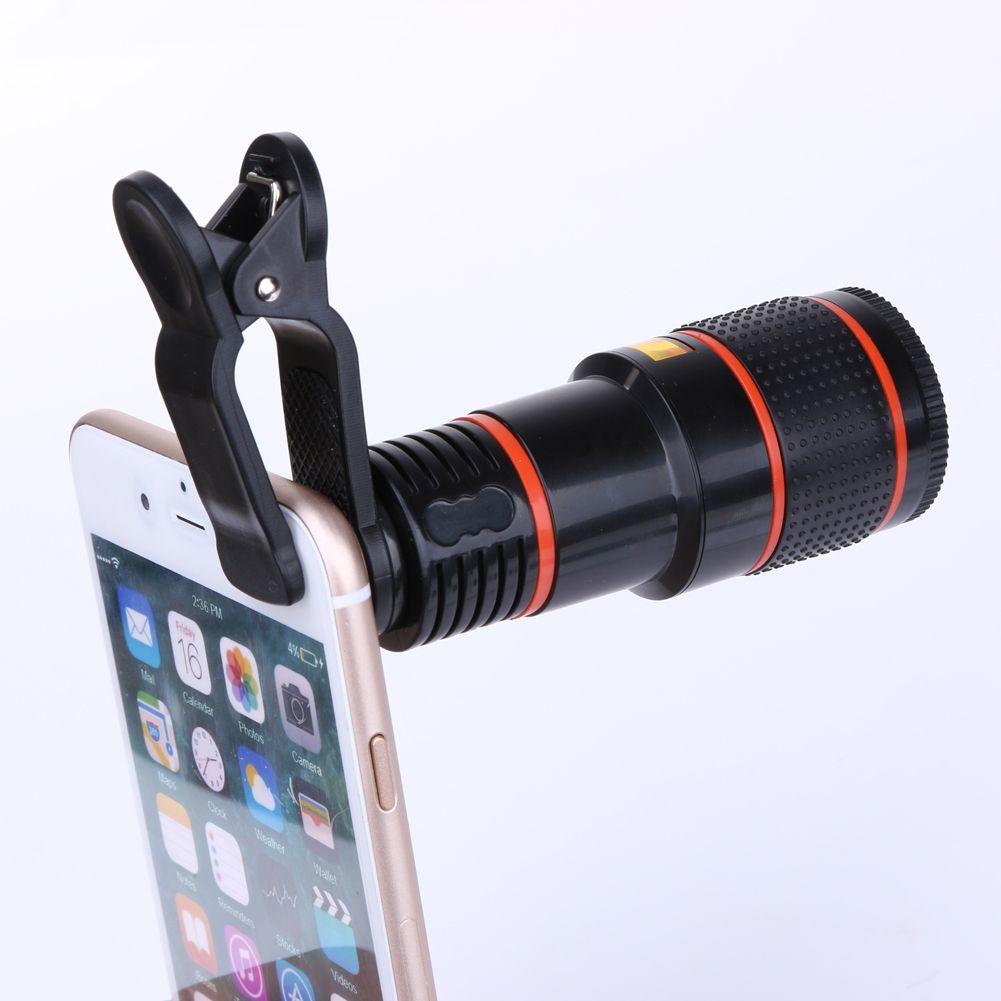 ALLOET 8X 12X Zoom Fish Eye Fisheye Camera Optical Lens Mini Monocular Telephoto Telescope Lens For iPhone Samsung Xiaomi Huawei