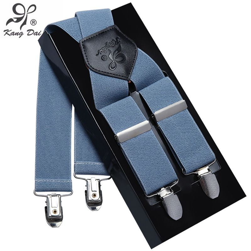 Kangdai Suspenders Men Leather Alloy 4clip Suspender Brand Belt Elastic Trouser Straps Fashion  Commercia Pants Braces MCX401