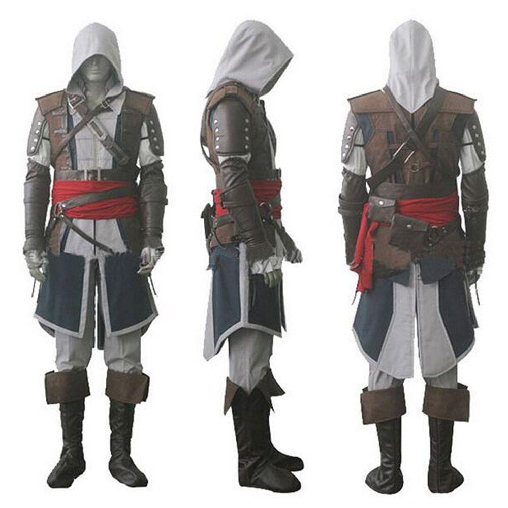 Assassin's Creed IV 4 Black Flag Edward Kenway Halloween Gray Cosplay Costume Superhero Assassin Creed Whole Set Costume