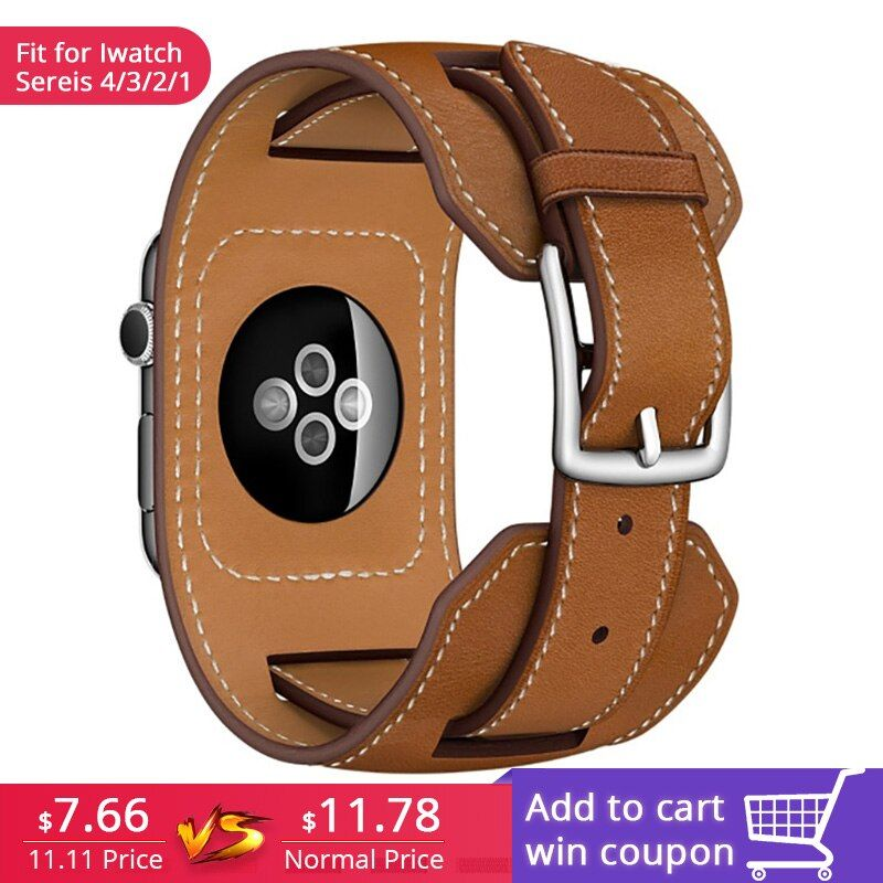 FOHUAS luxe Extra Long en cuir véritable bande Double Tour Bracelet en cuir Bracelet de montre pour Apple Watch 38mm 42mm en Stock