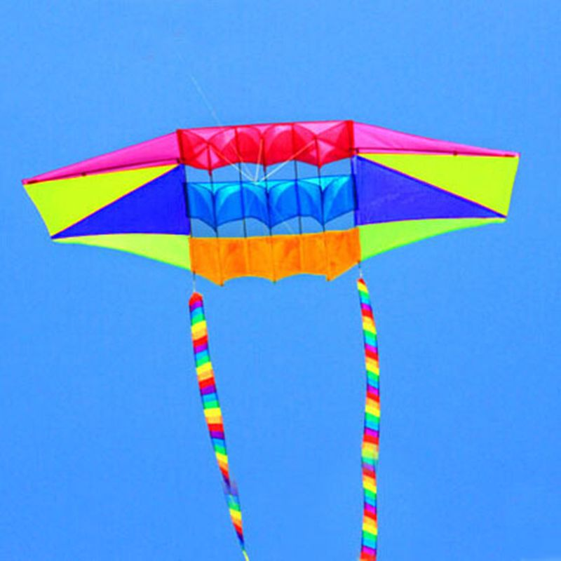 Livraison gratuite 2.5 m radar cerf-volant avec 10 m queue arc-en-ciel nylon ripstop jouets de plein air cerfs-volants bobine sac à vent vliegers girouette