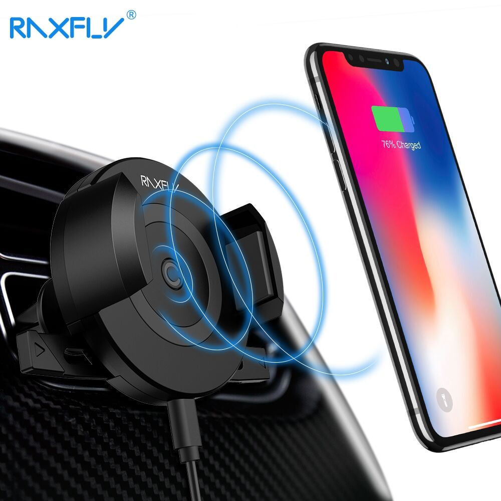 RAXFLY Wireless Car Charger For iPhone X 8 Air Vent Car Phone Holder Car Charger For Samsung Fast Car Wireless Charger