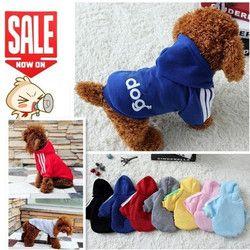 Nueva Otoño Invierno Artículos para las mascotas ropa para perros mascotas Abrigos ropa del perro del perrito del algodón ropa para perros 7 colores XS-4XL