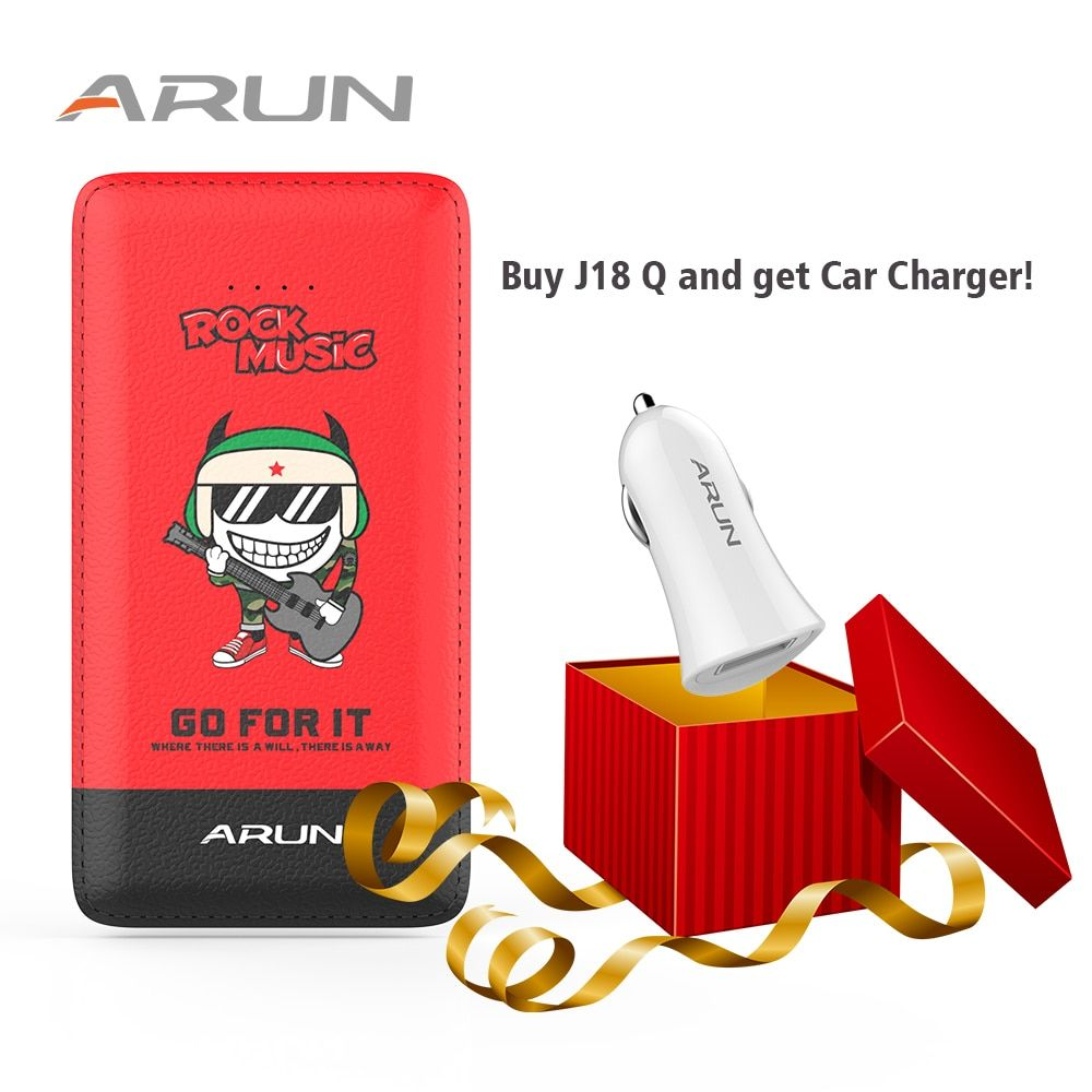 ARUN 10000mah Power Bank J18-Q Red Mobile Charger Dual USB External Battery With LED Indicator For Mobile Phones and Tablet PC