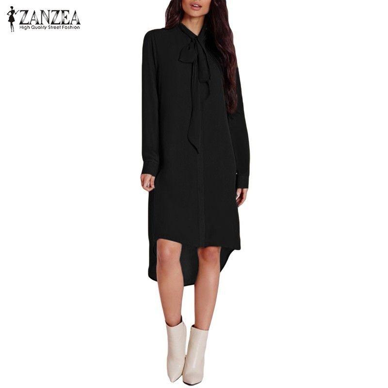 2017 ZANZEA Femmes Blusas Casual Lâche Mousseline de Soie Chemise Élégante Manches Longues Asymétrique Blouse Tops Plus La Taille Blusas Robes