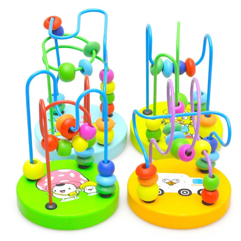Kids Baby Wooden Beading Toys Colorful Around Beads Maze Roller Coaster Learning Education Toys For Children Wood Montessori Toy