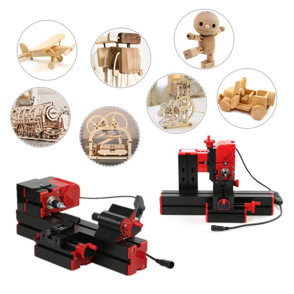Mini DIY 6 in 1 Multi-functional Motorized Transformer Jigsaw Grinder Driller Plastic Metal Lathe Wood Lathe Sawing Machine