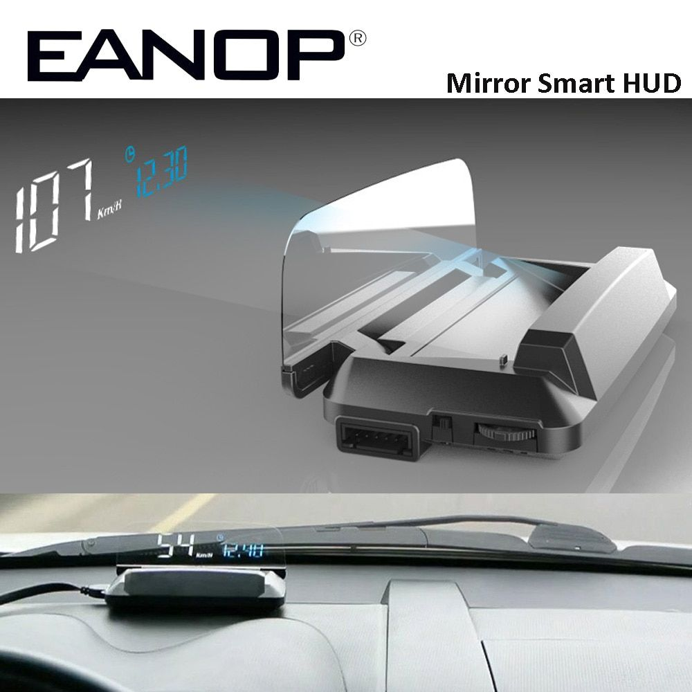 EANOP Mirror HUD Head Up display Auto HUD OBD2 elm327 Car Speed Projector Speedometer KMH KPM Voltage Alarm