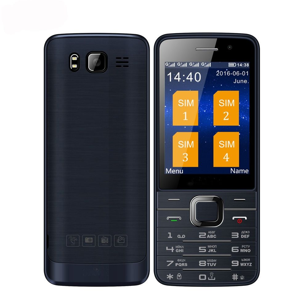 SERVO V9500 four Quad SIM cards 4 sim cards 4 standby single camera 2.8 inch flashlight mp3 GPRS FM radio cell mobile phone P283