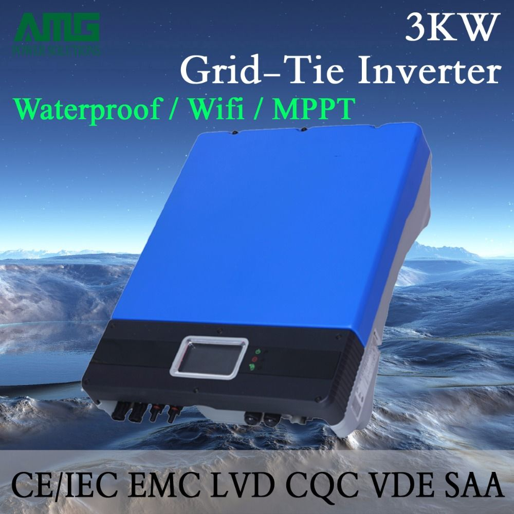 3000W/3KW Dual Input Single MPPT Waterproof IP65 On Grid Tie Solar Power Inverter Wifi Default Conversion, GPRS optional