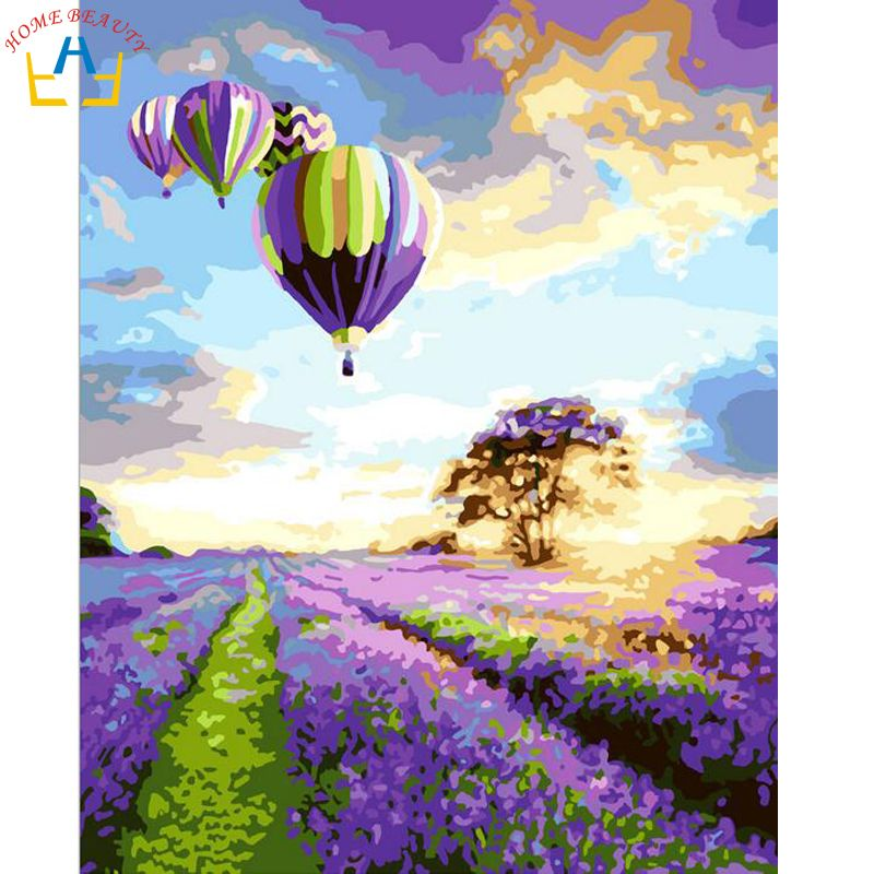 Oil paint painting by numbers diy picture coloring drawing on canvas oil painting by hand landscape craft  lavender G043