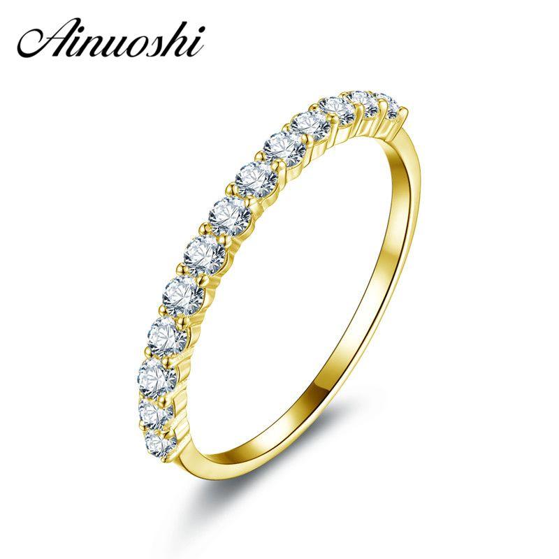 AINUOSHI Trendy 10K Yellow Solid Gold Ring Women Ring Row Drilling Sona Simulated Diamond Engagement Wedding Band Bridal Ring
