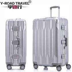20'24'26'28' Cadre en aluminium Spinner bagages Carry-sur cabine TSA Résistant Aux Rayures Voyage chariot bagages À Roulettes valise roues