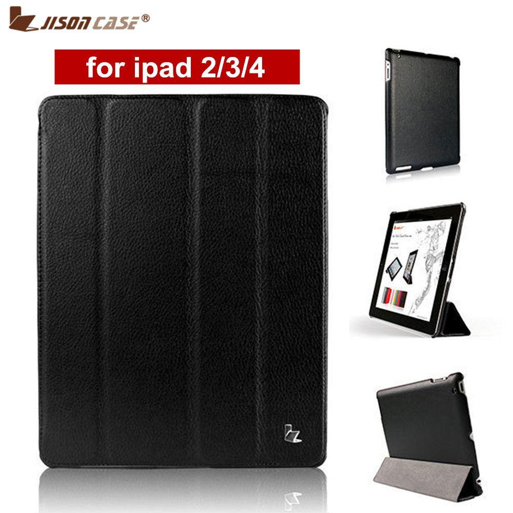 Jisoncase Marque Cas Pour iPad 2/3/4 Cas PU De Protection En Cuir Smart Cover Case pour iPad 2 /3/4 nouveau Livraison Gratuite Couvre et Cas
