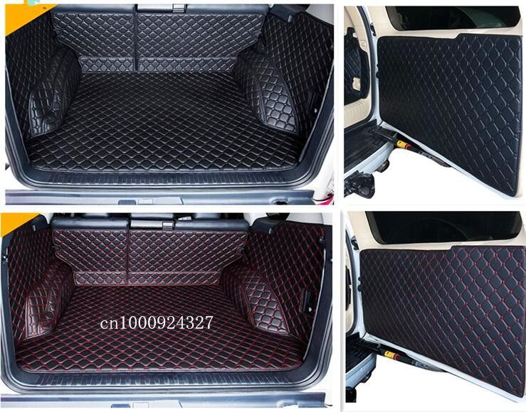 Newly! Full set trunk cargo mats & Rear door mat for Toyota Land Cruiser Prado 150 5 seats 2017-2010 boot carpets,Free shipping