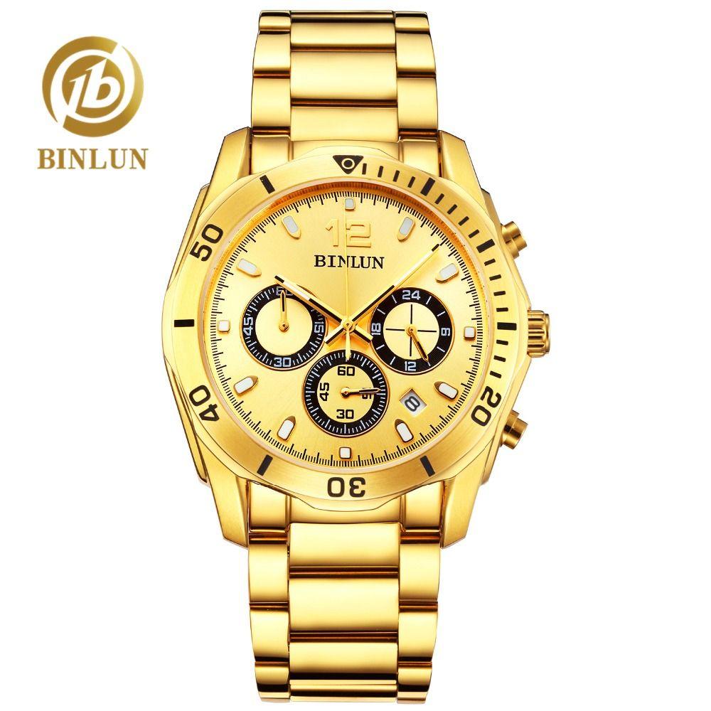 BINLUN Top Men's Gold Quartz Watch Classic Daytona Waterproof Sport Watch Sapphire Luxury Men's Business Watch Rolexable relogio