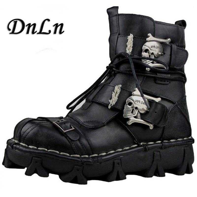 Size 38~49 Genuine Leather Men Motorcycle Boots Black Brown Ankle Boots Punk <font><b>Style</b></font> Army Boots Skull Metal