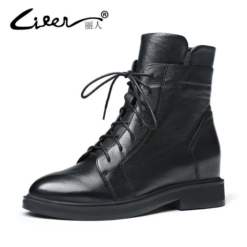 LIREN 2018 Femmes Bottes De Mode Véritable de Vache En Cuir Chaussures Printemps Automne Plate-Forme En Cuir Cheville Bottes Femmes Noir Plat Casual Boot