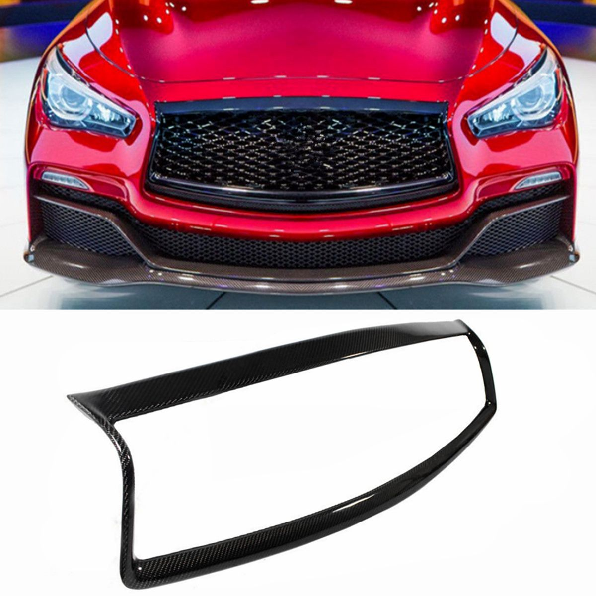 High Quality Real Carbon Fiber Car Front Grill Outline Moulding Trim Cover Infiniti Q50 2014-2016 All Models