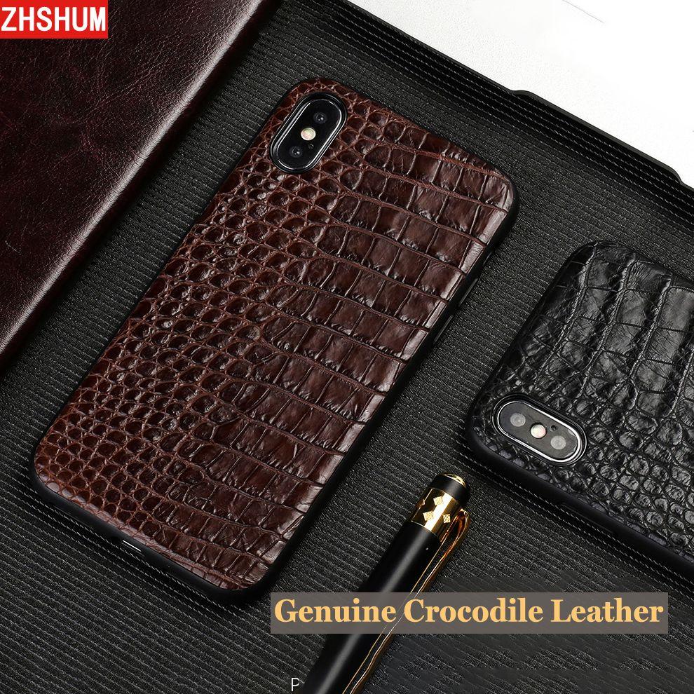 Echtem Krokodil Leder Fall Für Iphone X 7 Plus Iphone 8 6 s XS MAX XR Luxus Handmade Croco Fall zurück Abdeckung für Iphone 6 SE