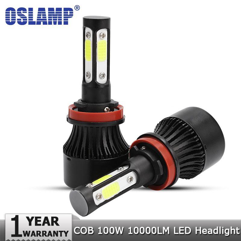 Oslamp New 4 <font><b>Side</b></font> Lumens COB 100W 10000lm H4 Hi lo H7 H11 9005 9006 Car LED Headlight Bulbs Auto Led Headlamp LED Light 12v 24v