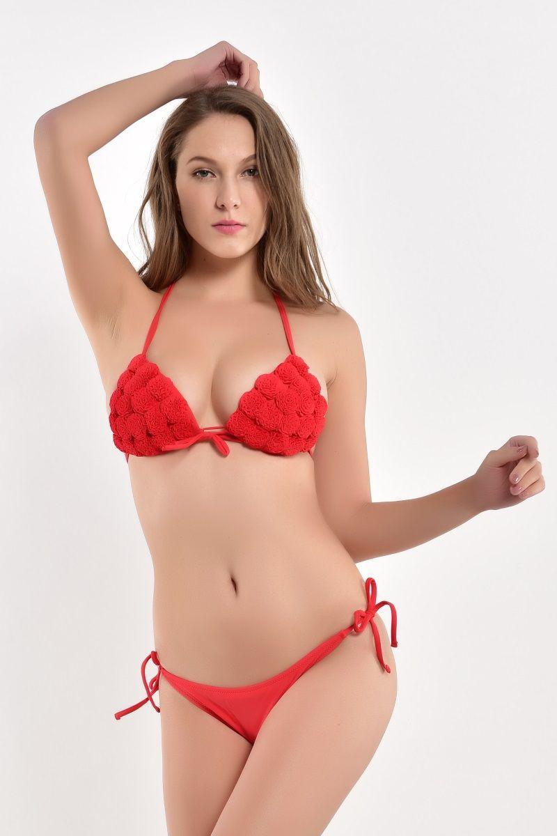 2018 strand Biquini Sexy Vintage Badeanzug Push-Up Bademode Bikinis Eingestellt Bikini Brasilianische Rose Rot Blau Gelb Weibliche