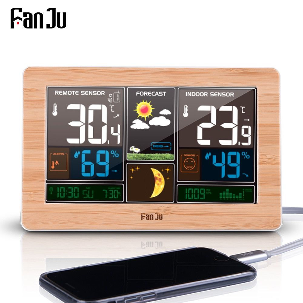FanJu FJ3378 Digital Alarm Clock Weather Station <font><b>Wall</b></font> Indoor Outdoor Temperature Humidity Watch Moon Phase Forecast USB Charger