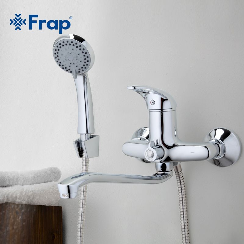 FRAP 1 set 300mm Outlet pipe Chrome Bath shower faucet Brass bathroom taps with ABS shower head F2203