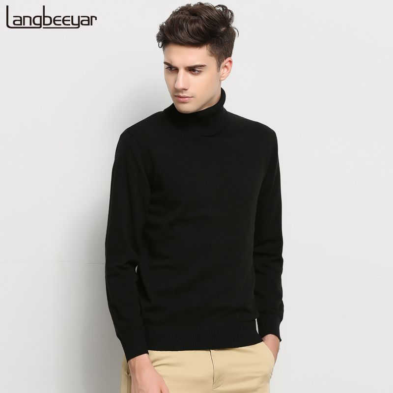 Hot 2018 New Autumn Winter Brand Clothing Sweater Men Turtleneck Slim Fit Winter Pullover Men Solid Color Knitted Sweater Men