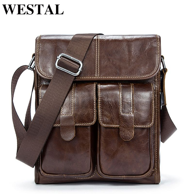 WESTAL Genuine Leather bag men bags Men Messenger Bags male small flap Vintage Leather shoulder crossbody bags for man 366