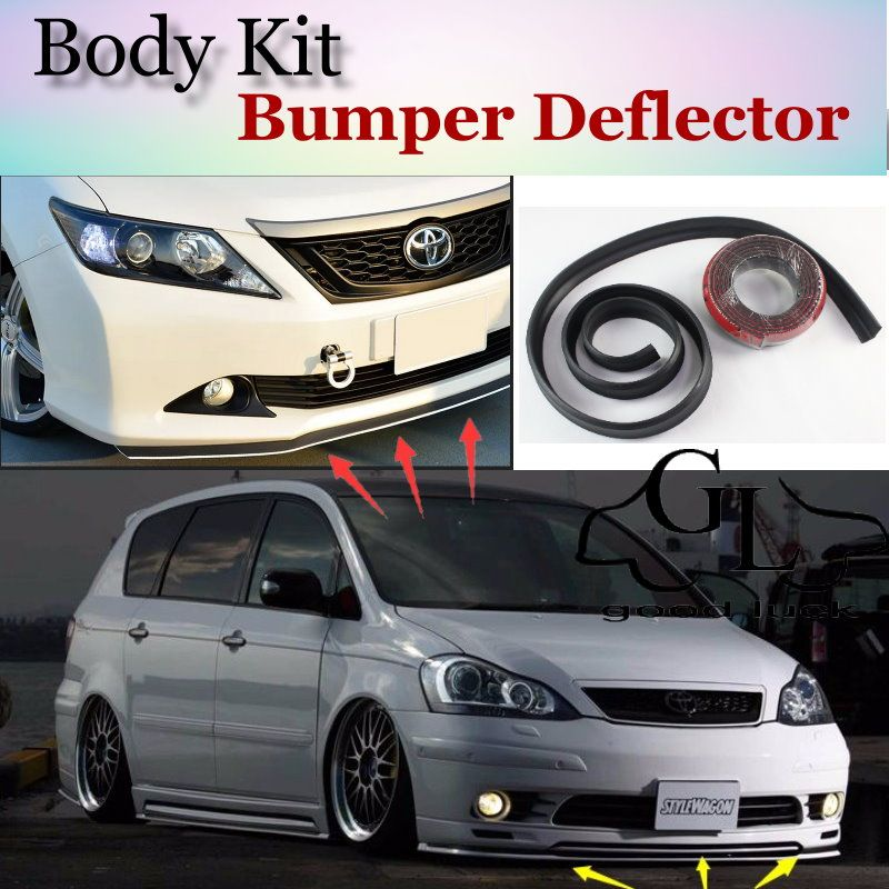 For TOYOTA Ipsum Picnic SportsVan Avensis Verso Front Bumper Lip / Spoiler  Scratch Proof Adhesive / Body Kit / Strip Skirt