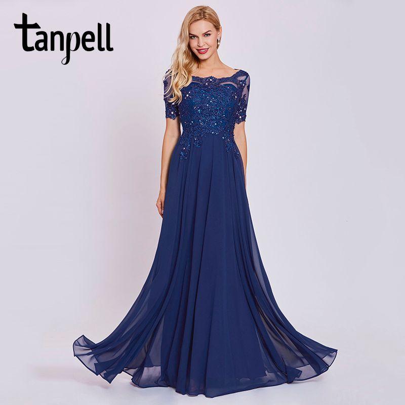 Tanpell oscuro azul real vestido de noche largo de encaje con cuentas o cuello manga corta altura del tobillo vestido de las mujeres formal prom vestidos de noche vestidos