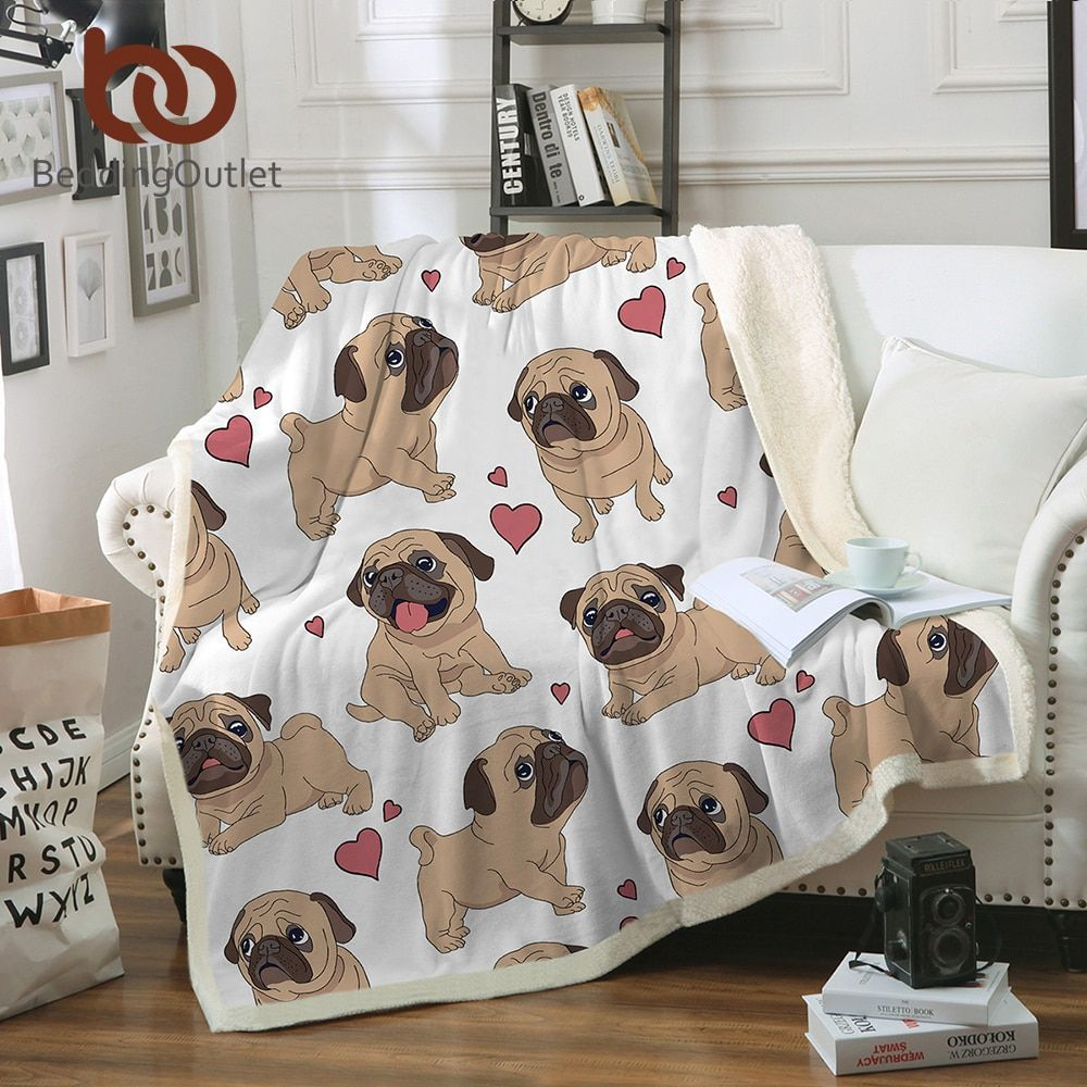 BeddingOutlet Hippie Pug Sherpa Blanket on Beds Animal Cartoon Plush Throw Blanket for Kids Bedspread Bulldog Sofa Cover 1pc