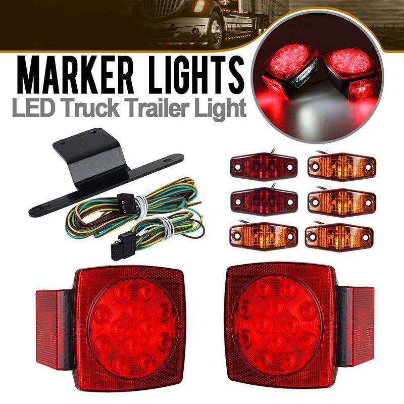 Submersible Rear Truck Trailer SQ LED Light Kit Stop Turn Tail Light Marker Lamp Waterproof Tailight Boat Bus Van Parts 12V