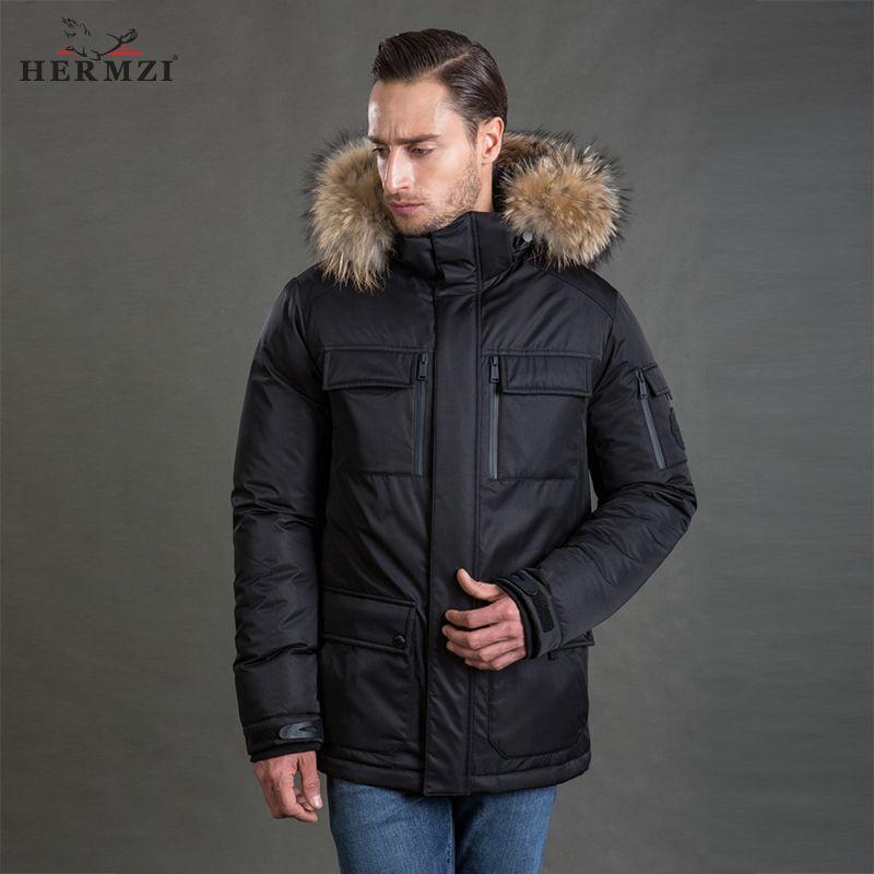 HERMZI 2017 Winterjacke Männer Parka Dick Gepolsterte Mantel Thinsulate Jacke Abnehmbare Haube Waschbärpelz Europäische Größe Freies Verschiffen