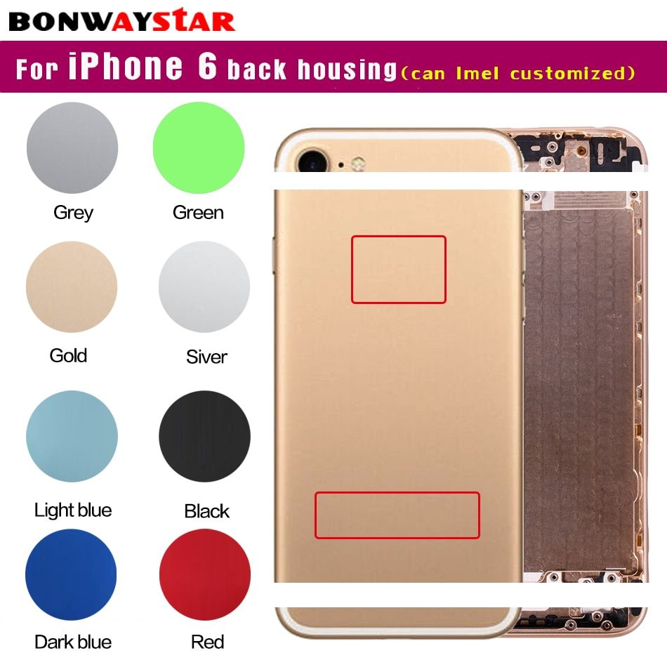 Back housing for iphone 6 metal Case Battery Cover for iphone 6 Housing Middle Chassis case body Replacement can customize imei