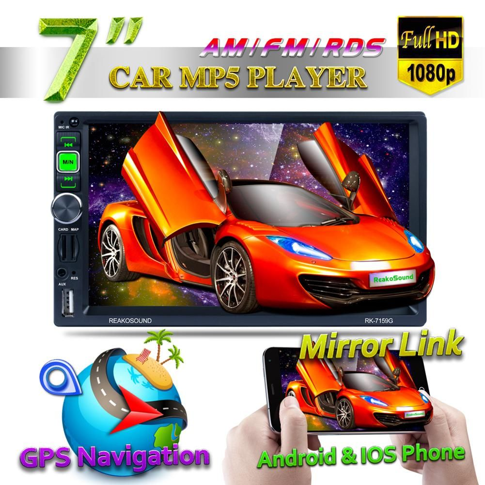 HD 1080P 7-Inch Car Bluetooth Media MP5 Player GPS Navigator Apple Android AM/FM/RDS Radio AUX Mirror Link For Andriod & IOS