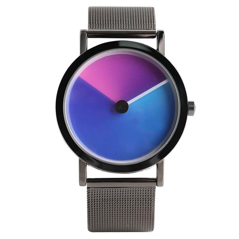 Unique Vortex Unisex Gradient Color Clock Male Aurora Rotating Quartz Wristwatch Luxury Sport Dress Watch Men Women Hours Gifts