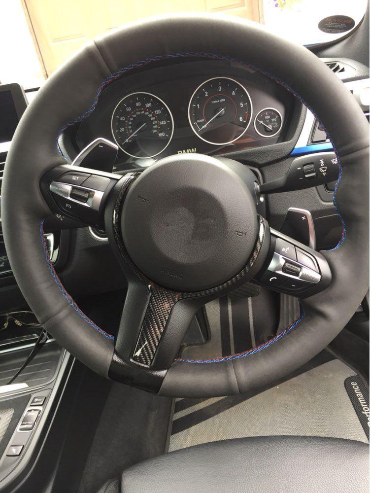 For BMW F20 F22 F21 F30 F32 F33 F36 F06 F12 F13 X5 F15 X6 F16 M-Sport Carbon Fiber Steering Wheel Trim