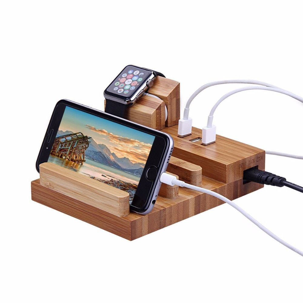 Multi-Function Natural Bamboo Wood Charge Station 5V 3 USB Dock Cradle Stand Holders For watch 38 42 iPhone 6 7 8 Plus ipad pro