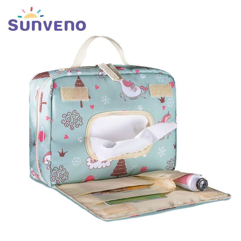 Sunveno Nouveau D'origine Étanche Sac à Langer Mode Hangbag Réutilisable Maman Humide Sac pour Bébé Soins De Maternité Sac À Langer Trucs
