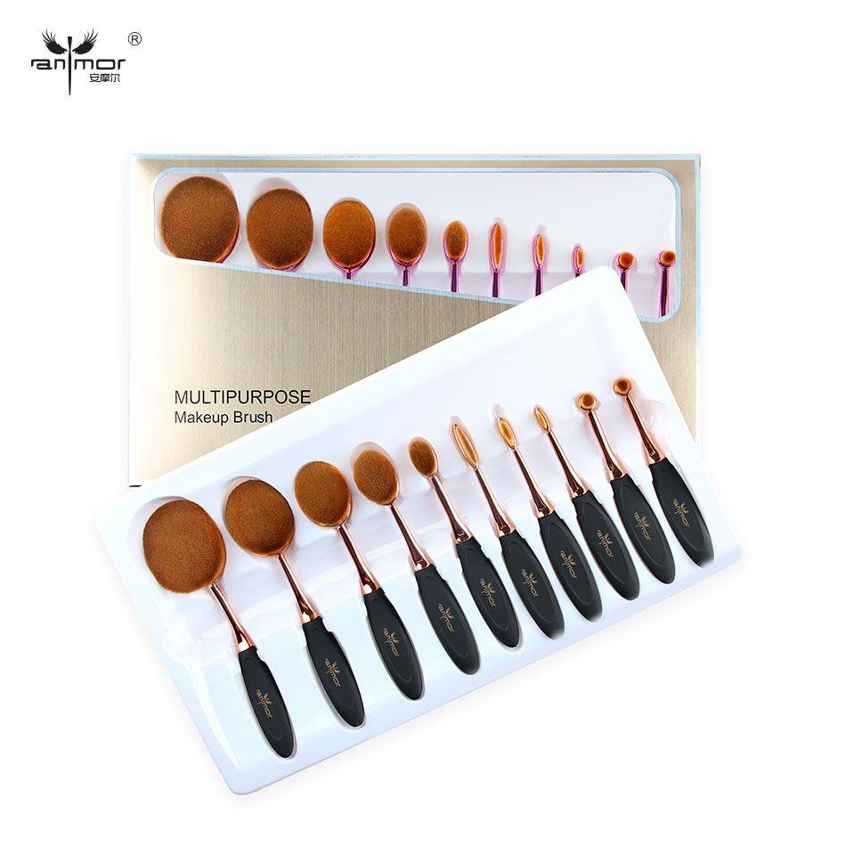 Nouvelle Arrivée Ovale Maquillage Brosses 10 pcs Maquillage Brosse Ensemble Polyvalente Poudre Eyeliner Sourcils Fondation Brosse Kit Avec la Boîte