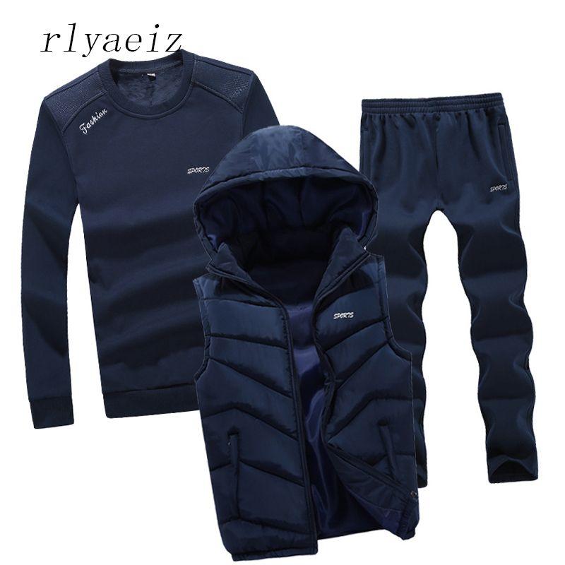 Rlyaeiz Plus Size 4XL High Quality Autumn Sportswear Men Casual Sporting Suits Hoodies + Pants +Vests 3 Piece Set Male Tracksuit