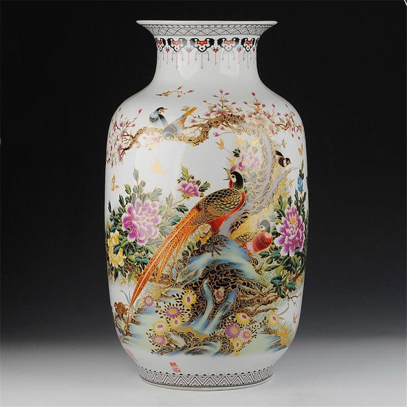 Jingdezhen 62cm Tall Vase Floor Ceramic Gold Pheasant Vase Home Furnishing Articles Sitting Room Large Floor Vases