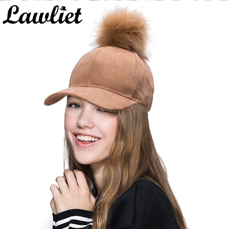 Suede Baseball Cap Hip Hop Cap Faux Fur Pom Pom Bobble Hats for Women Girl Adjustable Snapback Cap A383