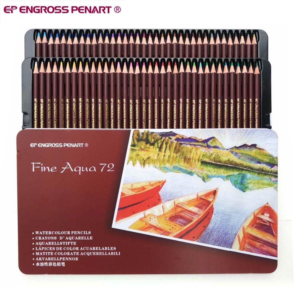 Qualité de l'artiste 72 couleurs lapices aquarelle professionnel noyau souple Soluble dans l'eau crayons de couleur ensemble pour dessin d'art croquis