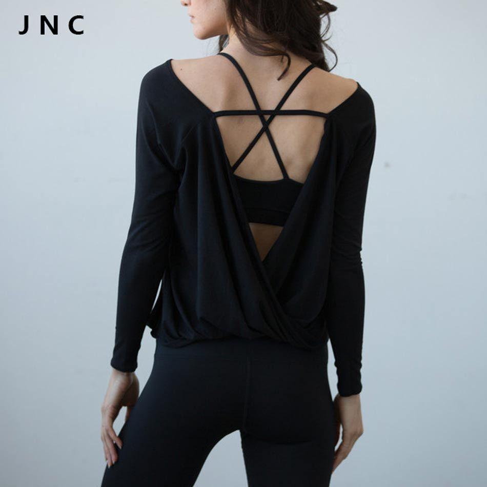 2016 femmes chemises séchage rapide entraînement Blouses Sport maillots dos ouvert Yoga t-Shirts à manches longues en noir vêtements de Sport pour les femmes